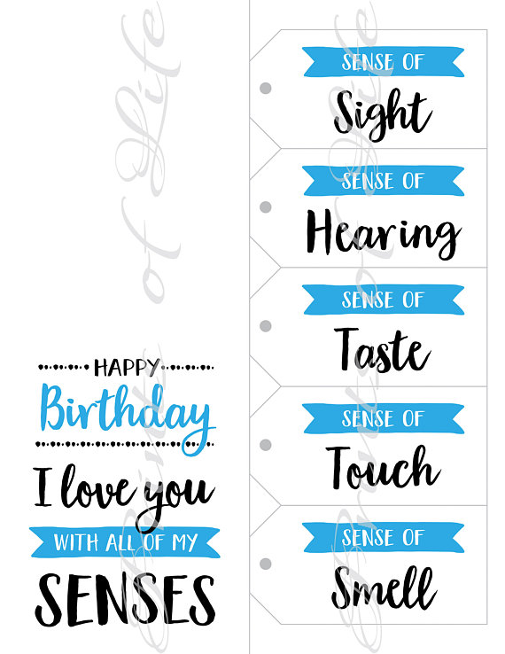 5 Senses Gift Tags & Birthday Card. Instant download printable. Five Senses Gift for him her child k