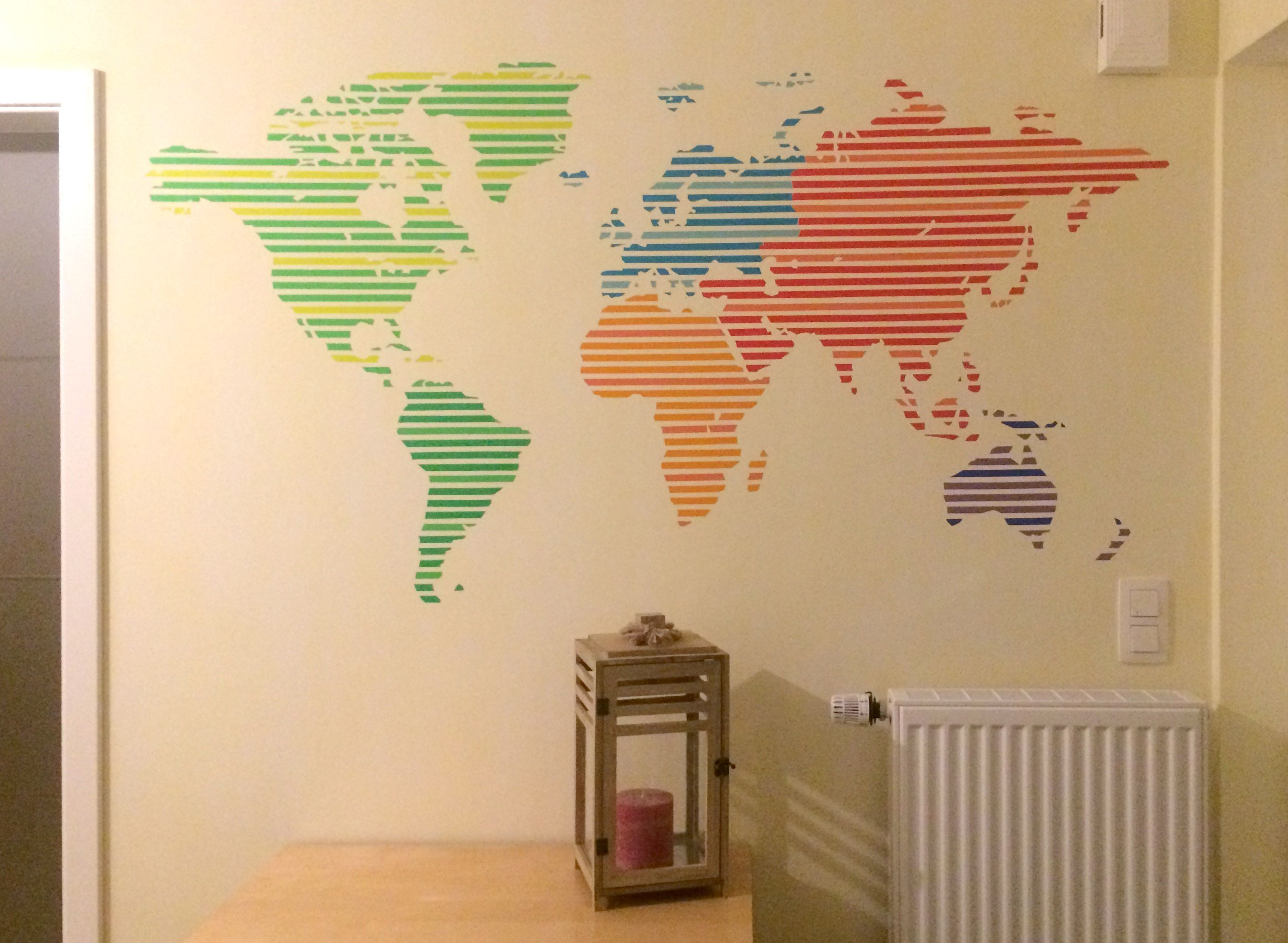 TAPE ART - world map wall design with washi tape | New decorating ...