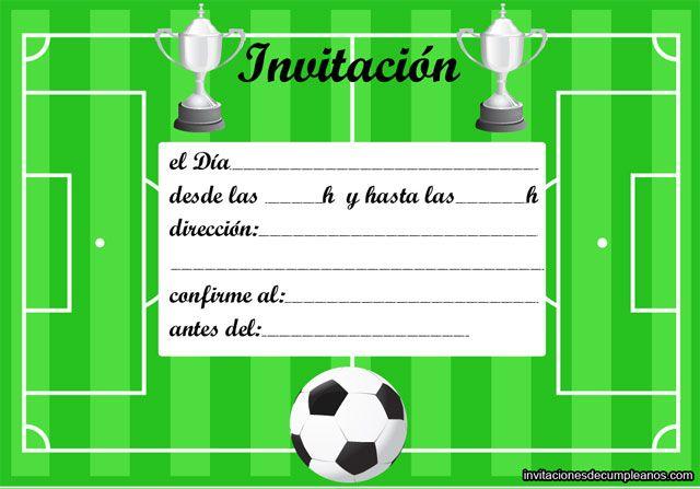 Invitacion cumple Invitaciones de cumpleaños futbol, Invitacion cumpleaños niño y