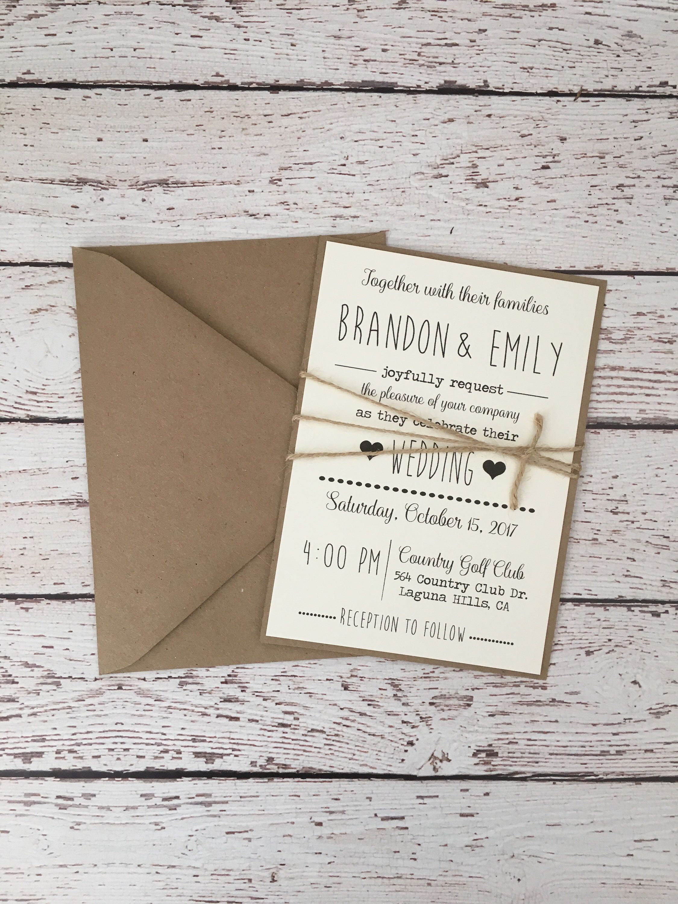 Simple Rustic wedding invitation, rustic modern invitation, simple ...