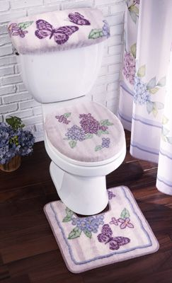 Lilac Butterflies Bathroom Commode Set Just The Top Of Toilet One
