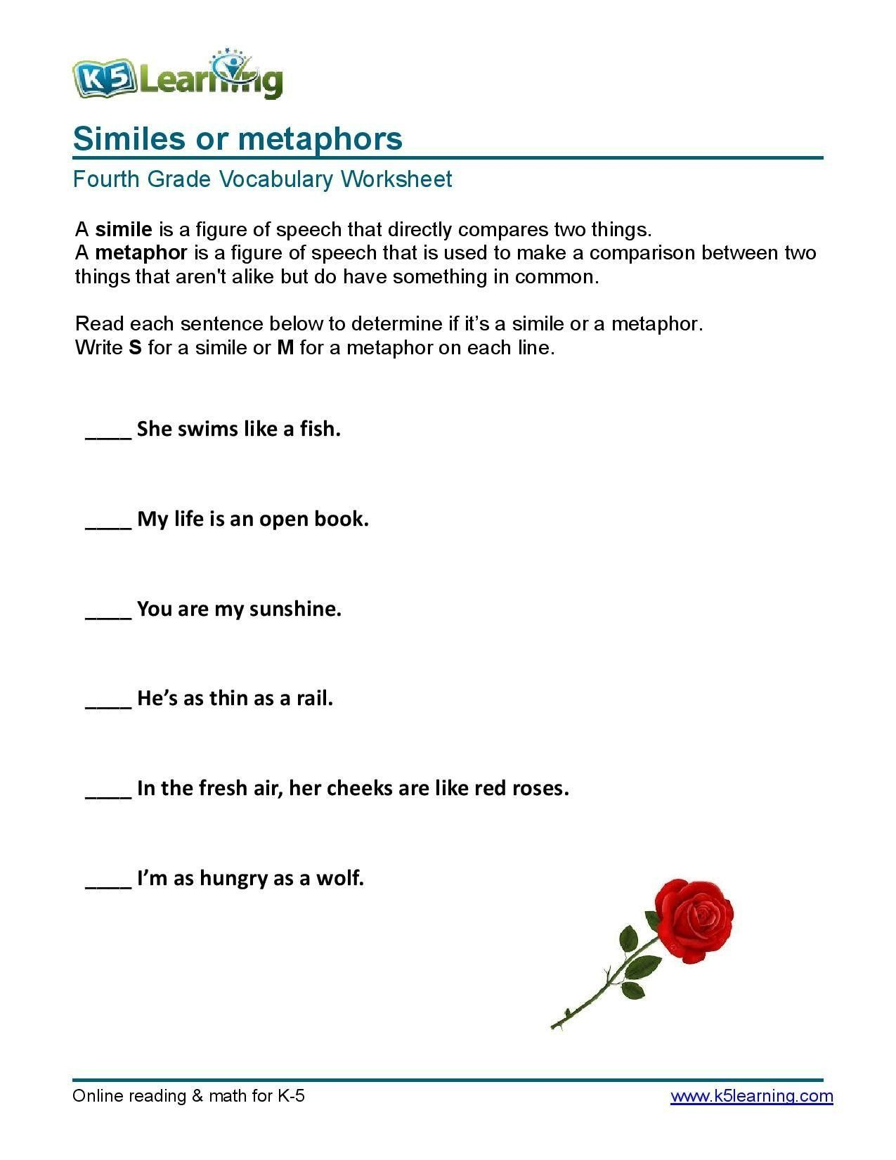 Simile Metaphor Personification Worksheet Similes or