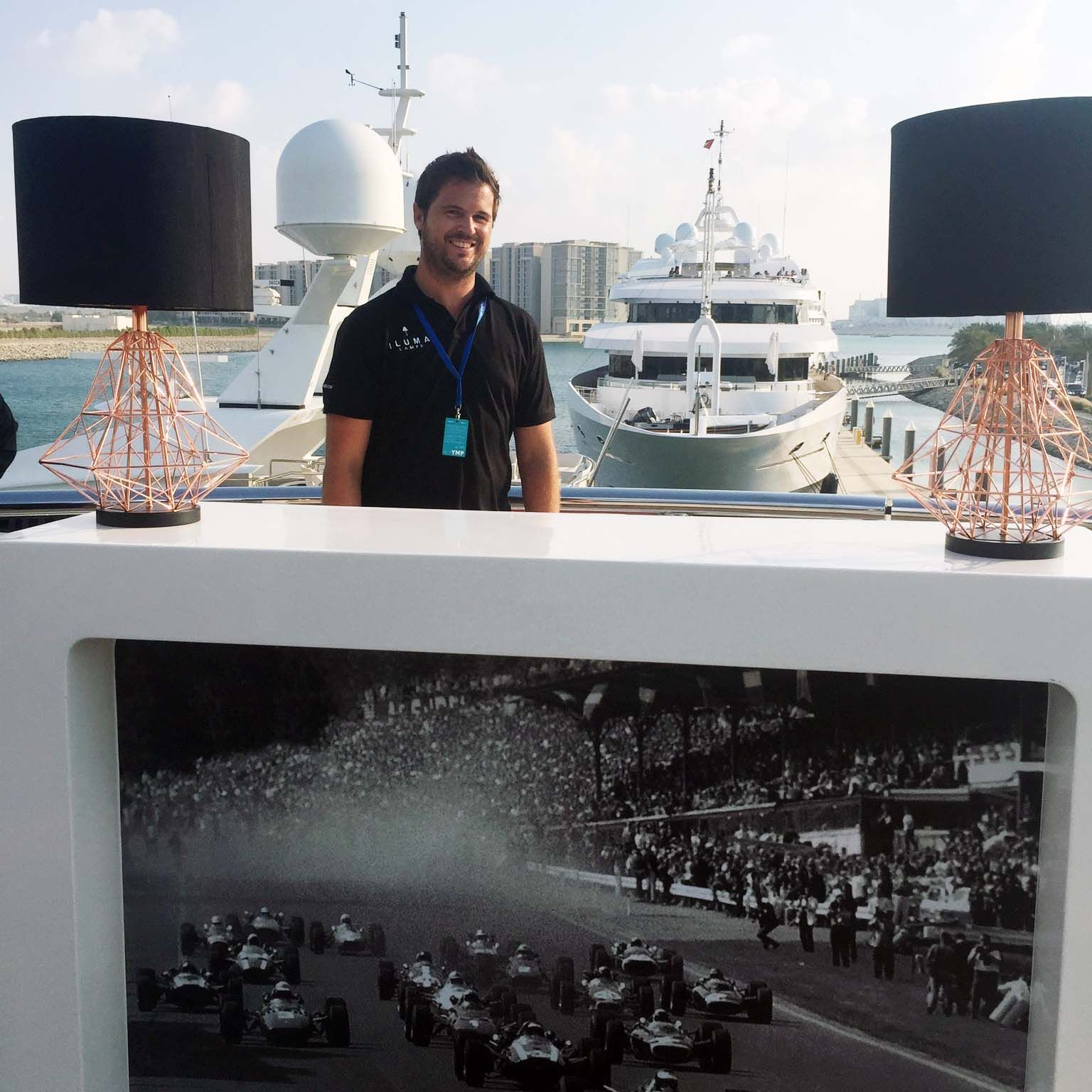 Mike installing on a monster boat at F1 2015, Yas Marina. Elegant Cordless Lighting for Events