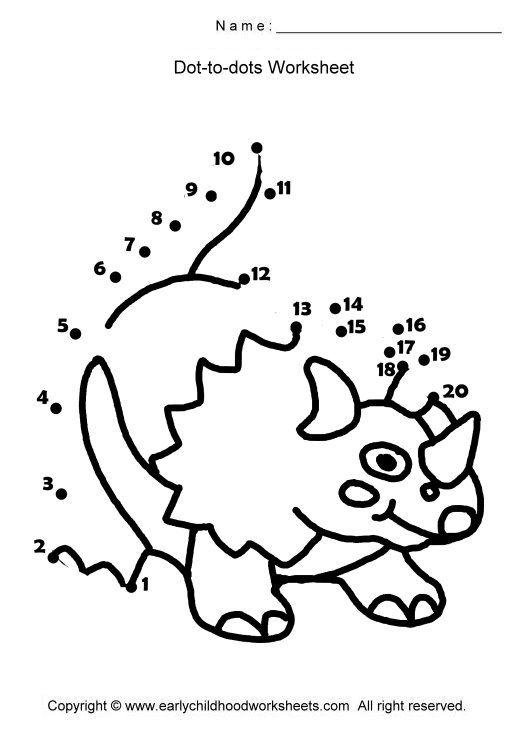 dot to dot dinosaur | Dot worksheets, Dots, Math ...