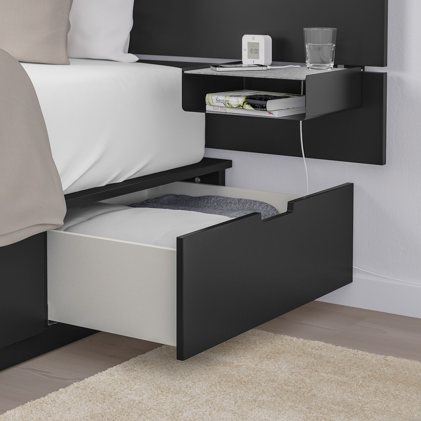 Nordli Bed With Headboard And Storage Anthracite Queen In 2020 Headboards For Beds Headboard Storage Bed Frame