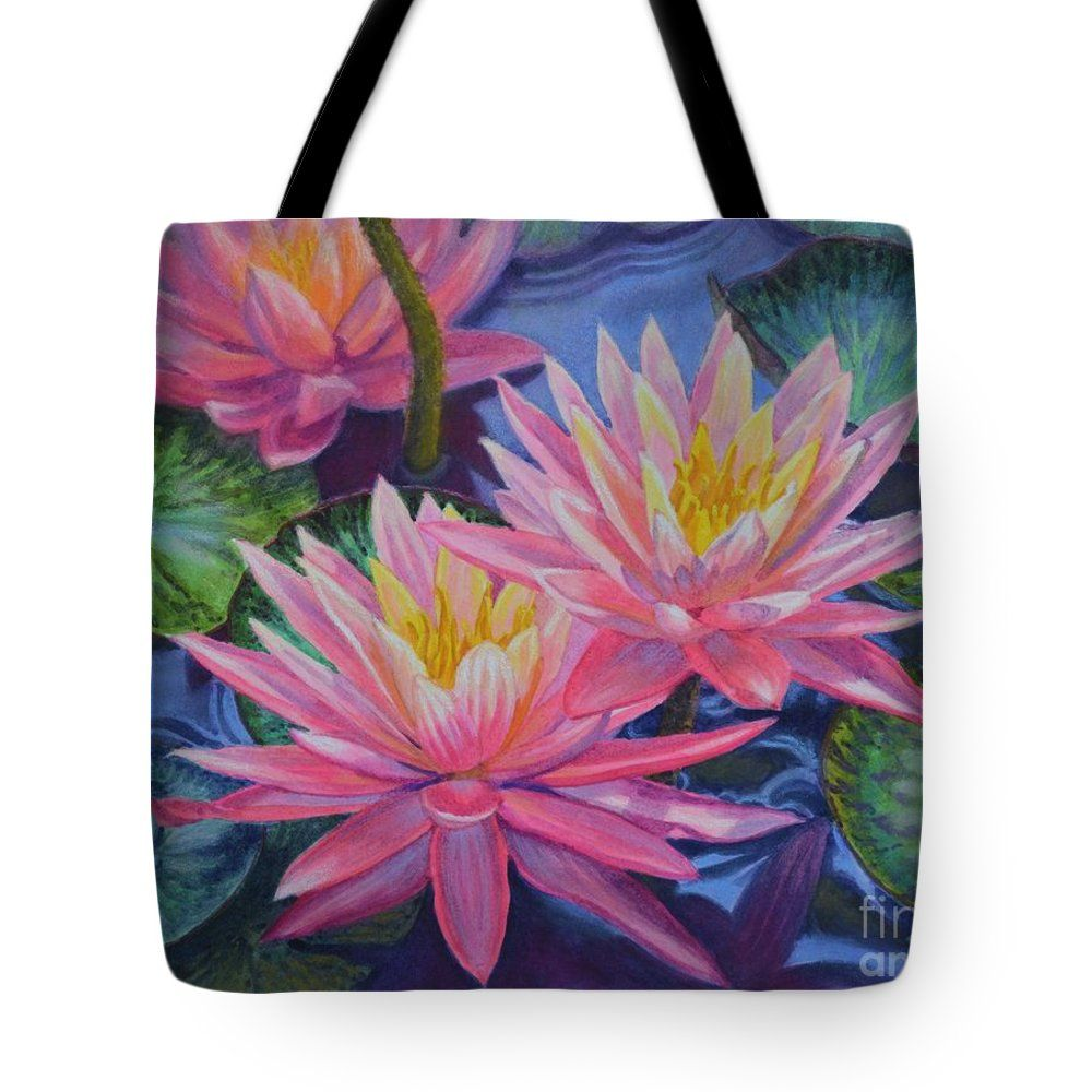 """Water Lilies 1 Tote Bag 18"""" x 18"""" from a watercolor painting by Fiona Craig www.fionacraig.com . Wall prints, duvet covers and throw pillows also available."""