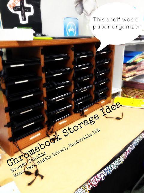 Chromebook storage idea: paper (literature) organizer, classroom