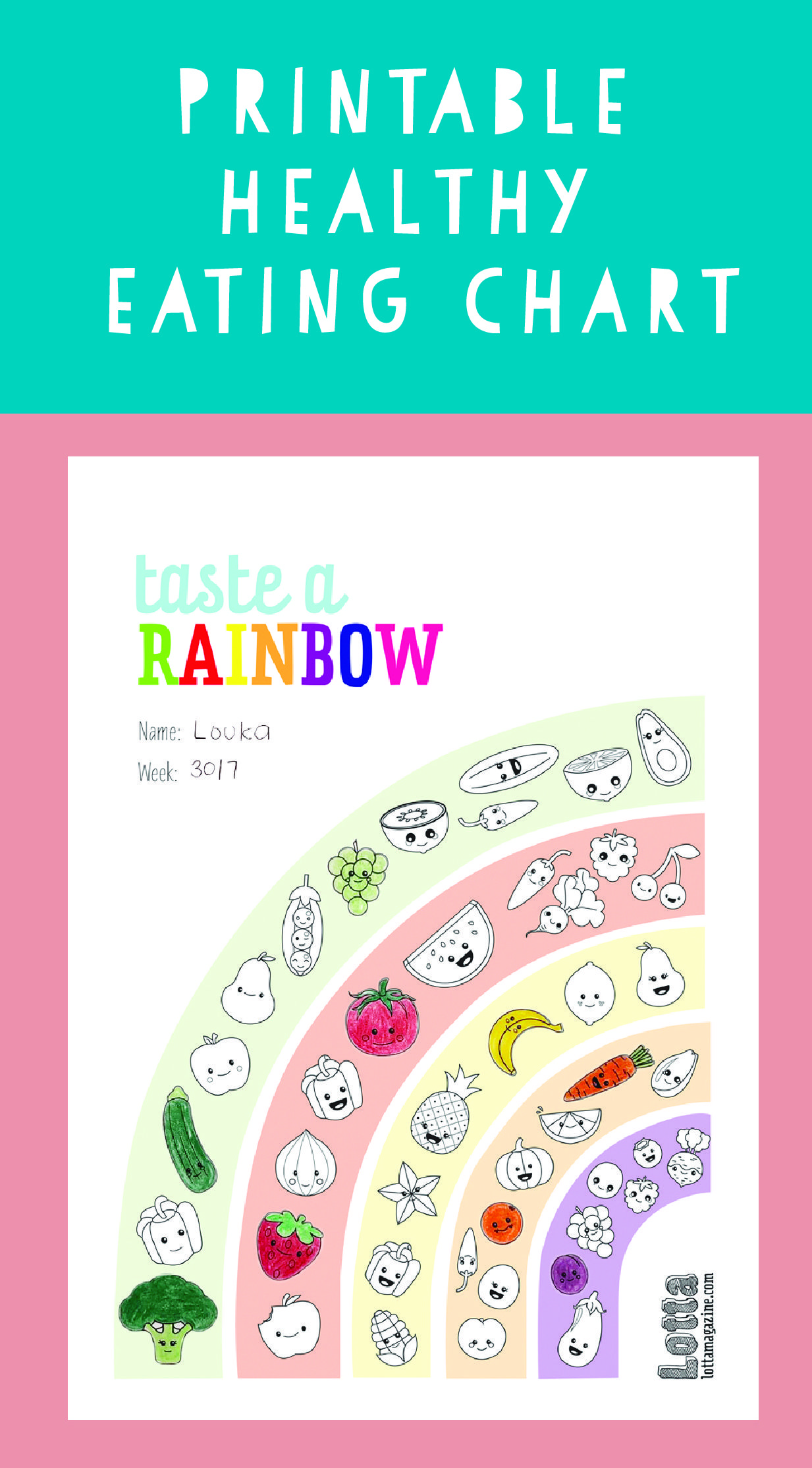 Fun Printable Healthy Eating Chart For Kids How Many Colours Of