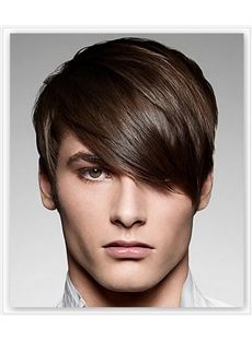 120 Full Lace Cap Short Straight Human Hair Hair Wigs For Men Boy Hairstyles Emo Hair