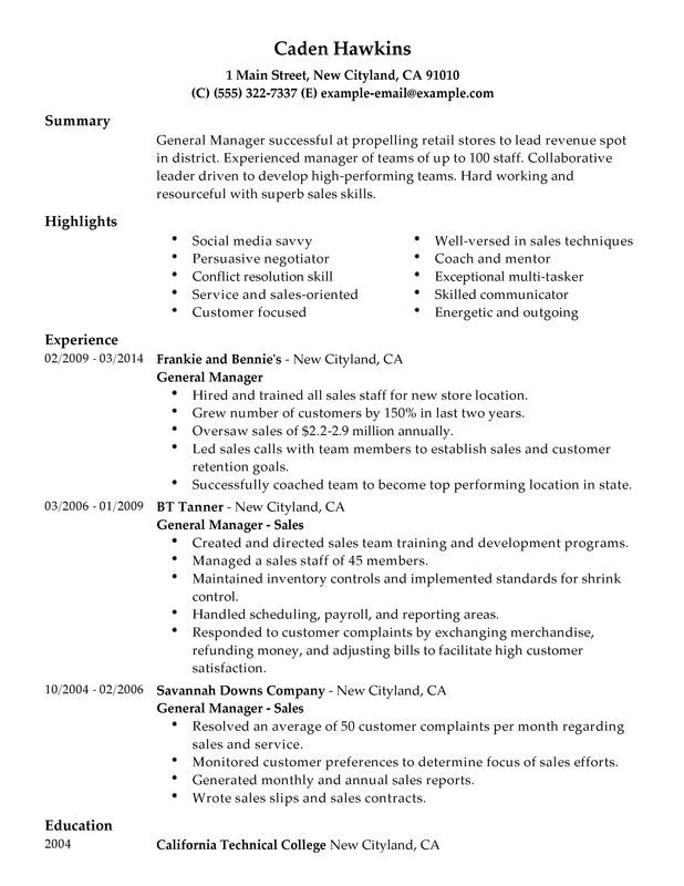 Resume Examples General Sample resume and Resume examples