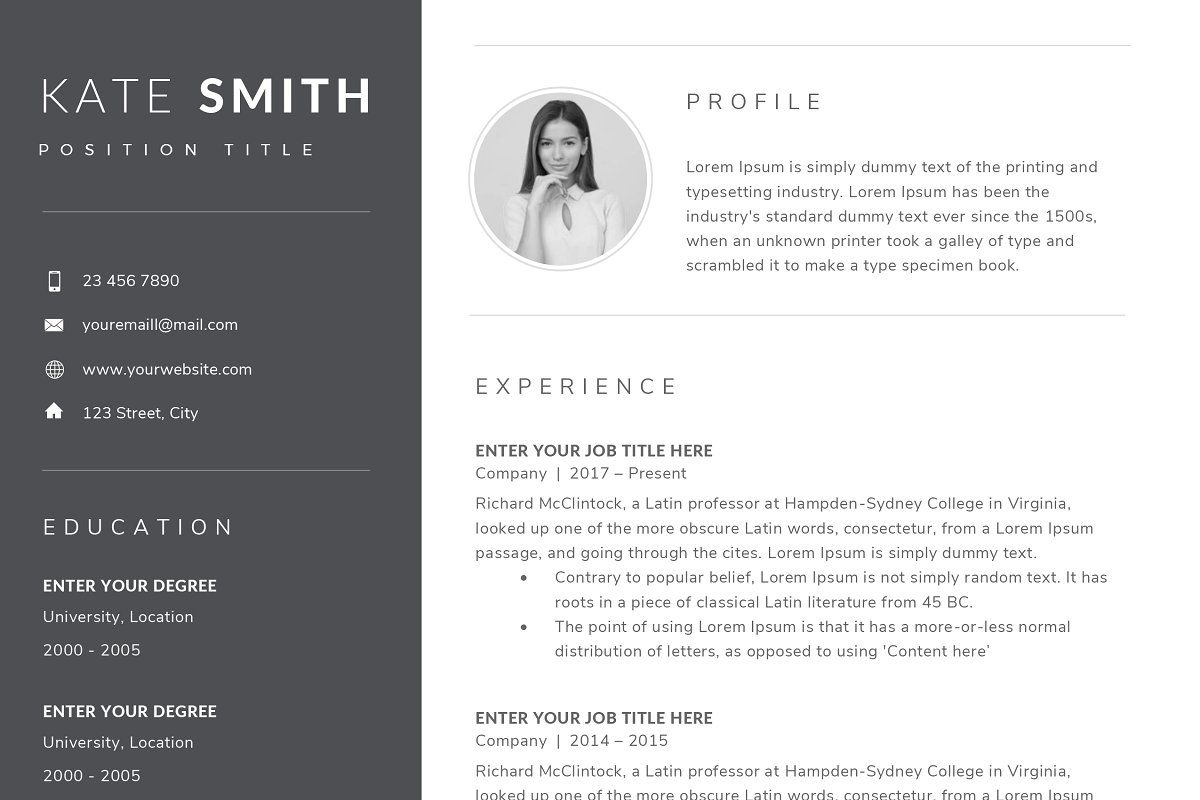 Resume Template / CV (One Page)