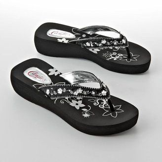 ea9cb1429 ShopStyle  Candie s® floral beaded wedge flip-flops black little flowers