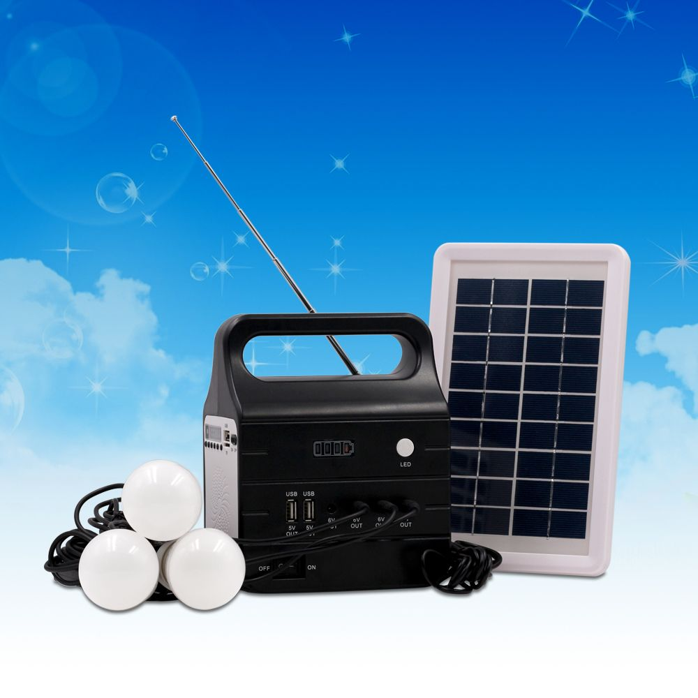 Solar Power Generator System For Portable Home Use With Speaker Monitor Battery Indicator 2 Pcs 3w Illumination Lamps Bulb And 8pcs Smd On Solar