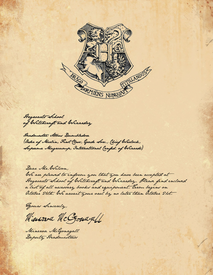 hogwarts acceptance letter template google docs  Hogwarts Acceptance Letter- I think I will send one of these ...