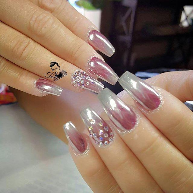 Chrome nails design - #nails #nail art #nail #nail polish #nail ...
