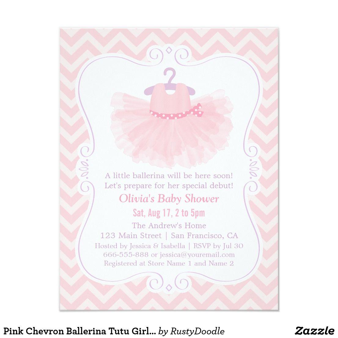 pink chevron ballerina tutu girl baby shower card