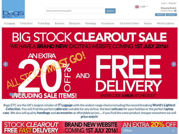 #Bags ETC - 20% off orders plus Free Delivery.