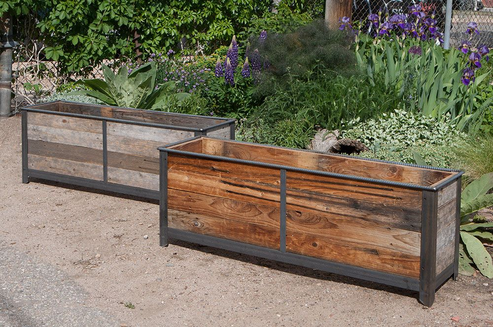 Rustic Steel Frame Planters With Reclaimed Cedar Wood Custom By Rushton Llc Planter Boxes Wood Planters Metal Planter Boxes