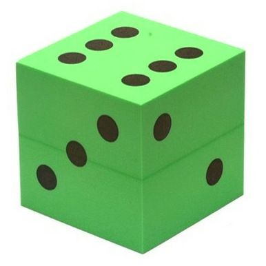 Large Foam Dice Green 100mm D6 Foam Green 6 Sided Dice
