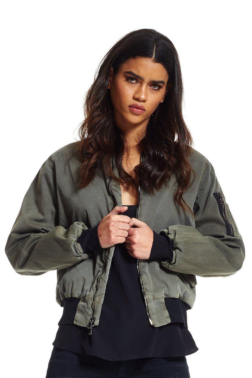 Hudson Jeans W757tah Gene Puffy Bomber In Trooper Green Bomber Jacket Jean Jacket Women Women [ 1280 x 853 Pixel ]