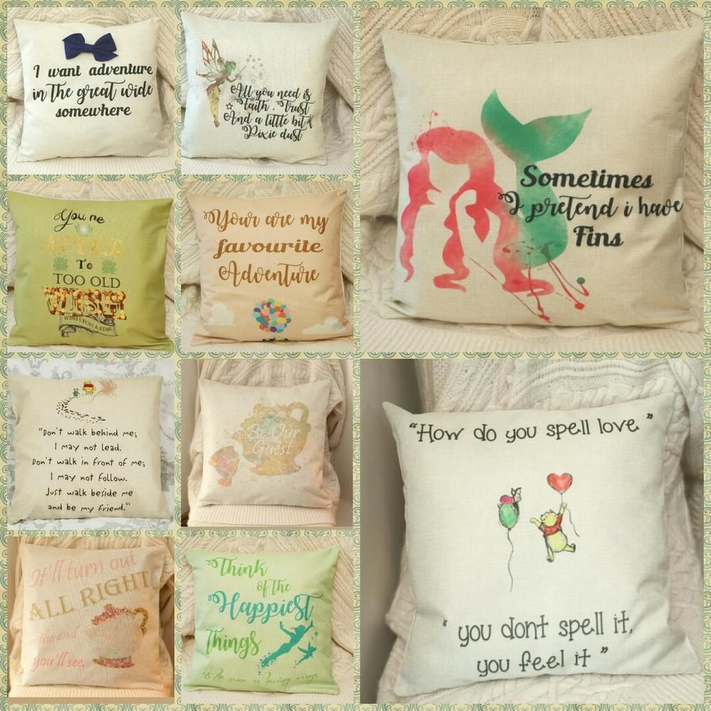 Details About Disney Princess Pooh Bear Quotes Cushion Cover Pillow Case Home Decor Gifts 45cm