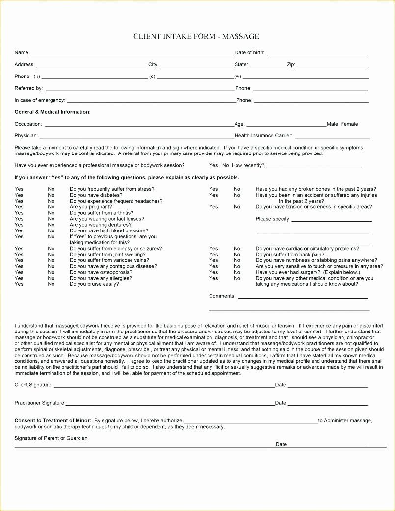 New Patient Intake form Template Inspirational Patient