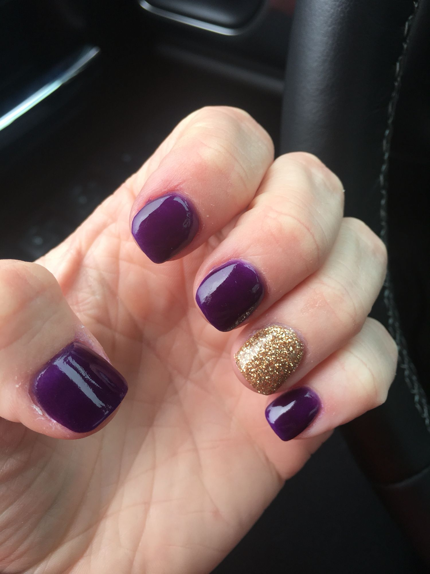 Anc Dip Purple And Gold Nails Sparkle Pretty