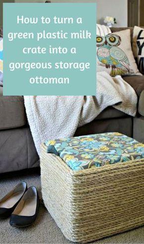 DIY Sisal Rope Storage Ottoman | ottoman | Plastic milk crates, Milk