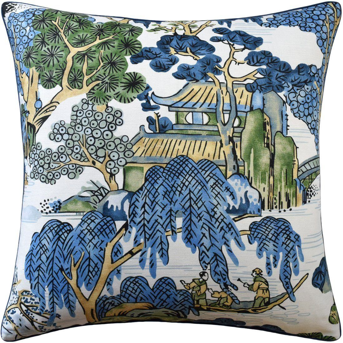 Asian Scenic Blue And Green Pillow In 2020 Blue Green