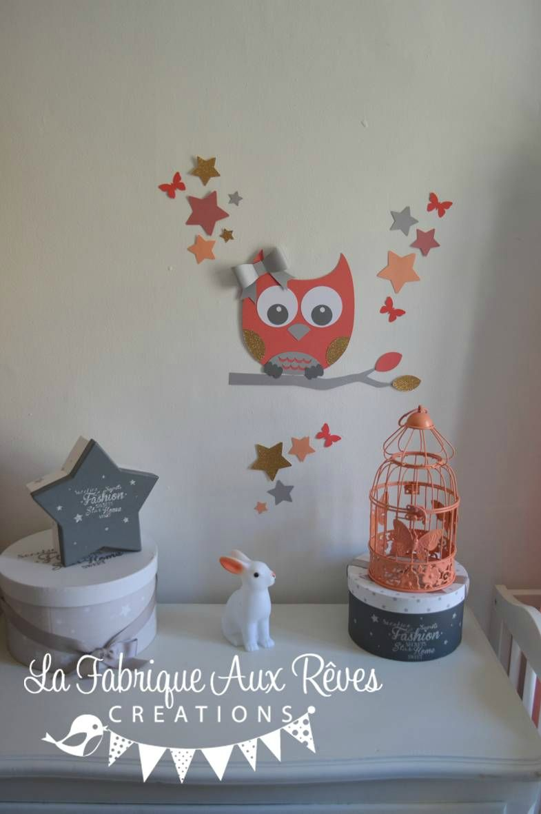 Stickers hibou chouette papillons toiles corail abricot - Stickers papillon chambre bebe ...