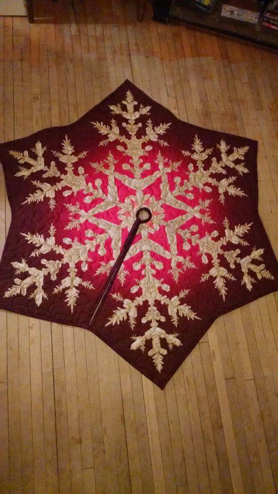 Red Snowflake Tree Skirt Diy christmas tree skirt