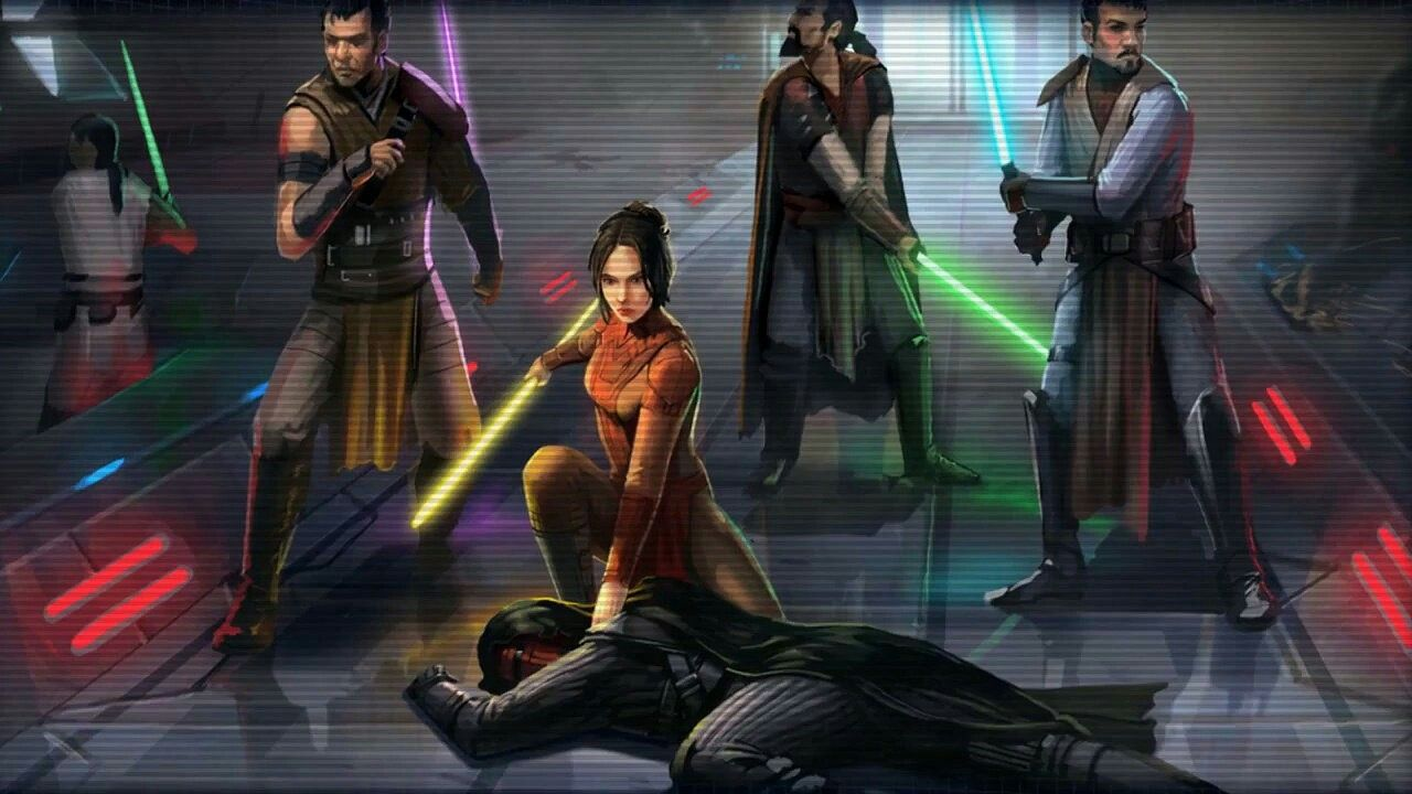 Knights Of The Old Republic Bastila Shan Over The Body Of Darth Revan Staff Lightsaber Five Jedi Star Wars Images Star Wars Kotor The Old Republic