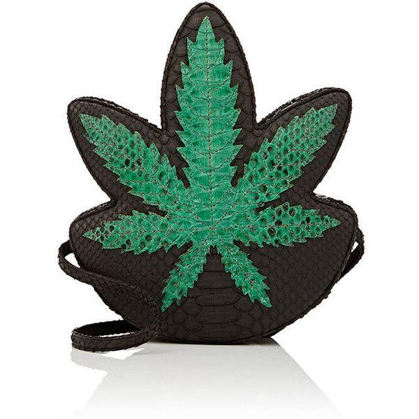 "Gelareh Mizrahi Women's \""Peace Maker Ganja\"" Python Clutch (£475) ❤ liked on Polyvore featuring bags, handbags, clutches, green, green purse, peace sign purse, peace handbags, peace sign handbags and snake print handbags"
