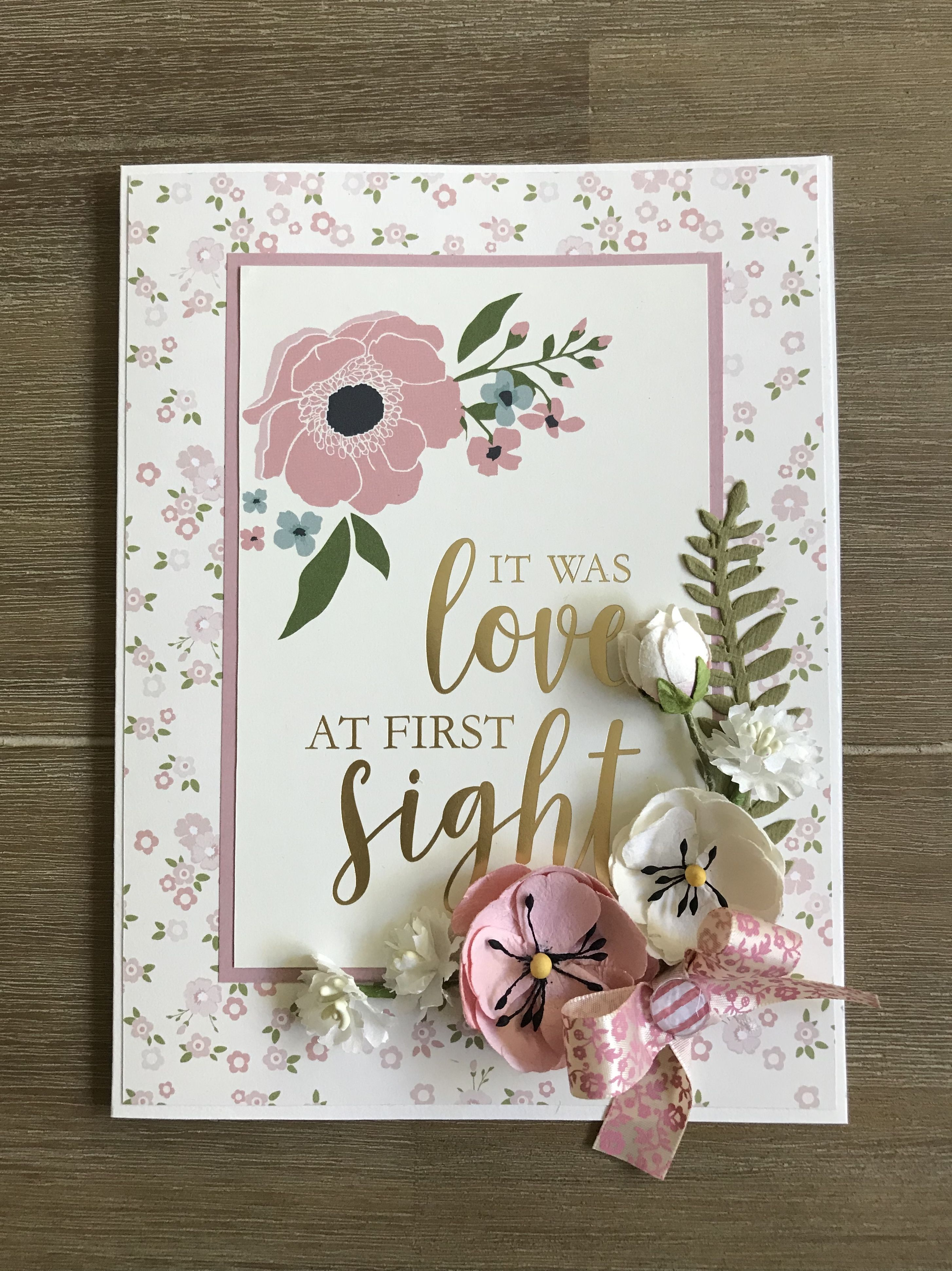 Rose gold card, Wedding Engagement card, 1st 2nd 3rd