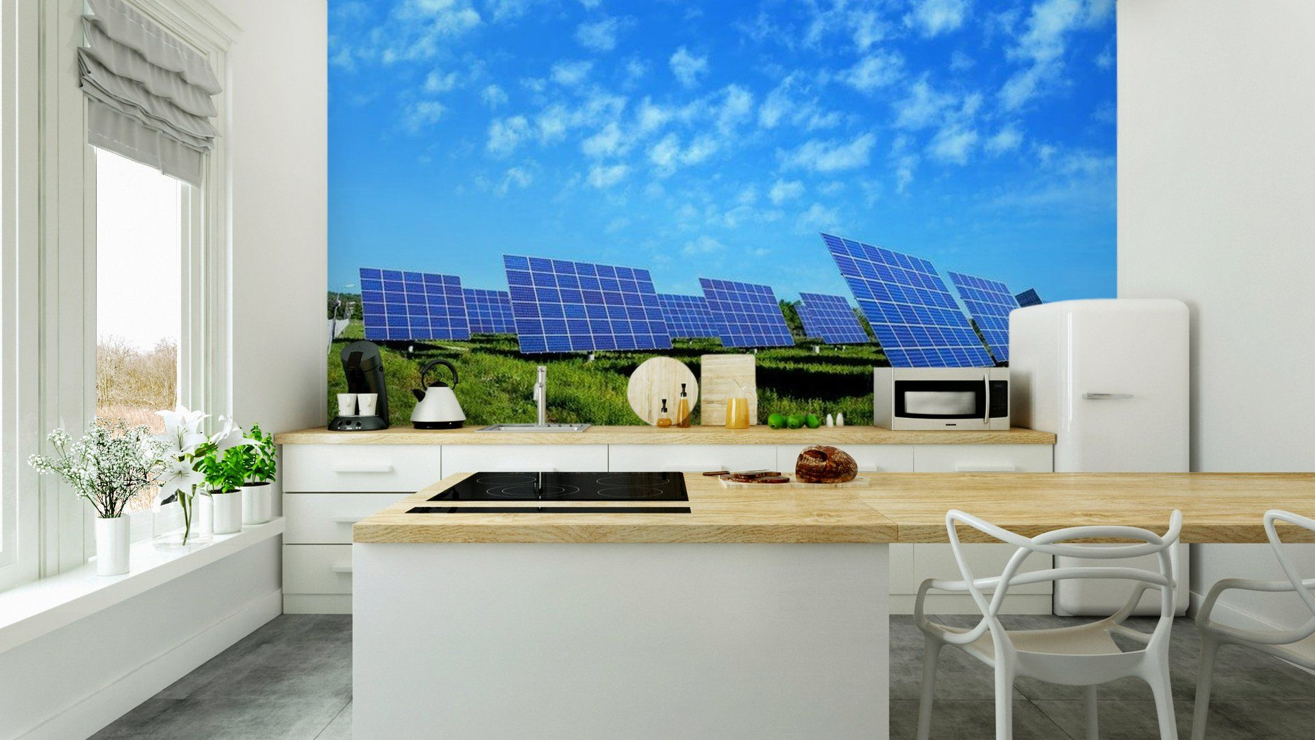 Lots of Solar Panels, with beautiful Clouds Vinyl Wall Mural ✓ Easy ...