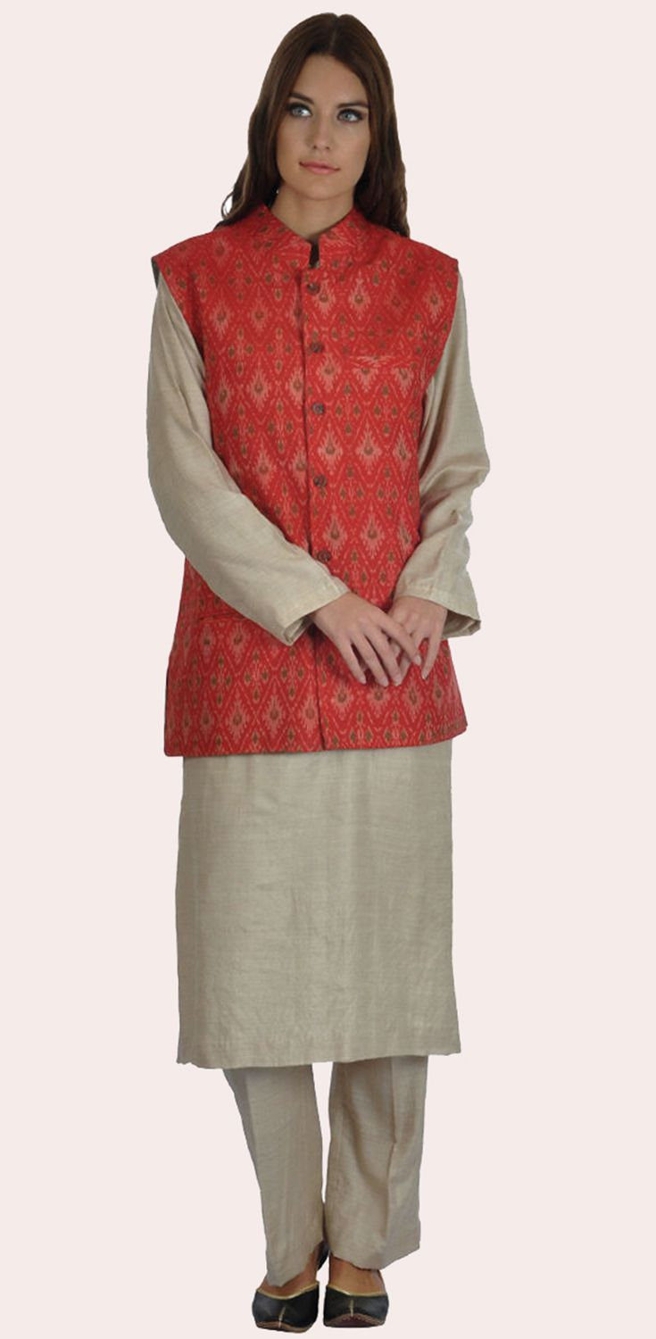 b2efc73ca6977 Red Silk-Cotton Hand Woven Ikat Bandi Waistcoat Jacket With Suit ...