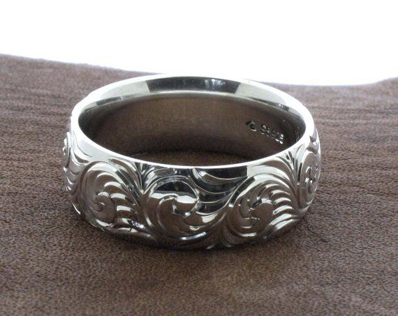 Mens Western Wedding Rings Hand Engraved Ring Custom Couples Rings