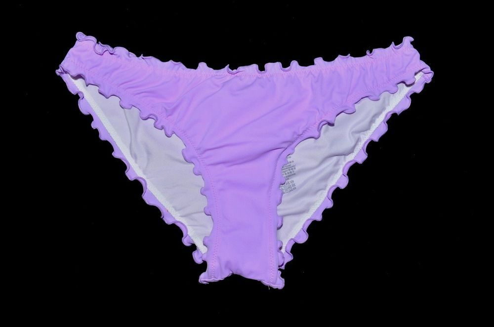 224e68e7ce123 VICTORIA'S SECRET PINK Purple Cheeky Ruched Ruffle Bikini Bottom ...