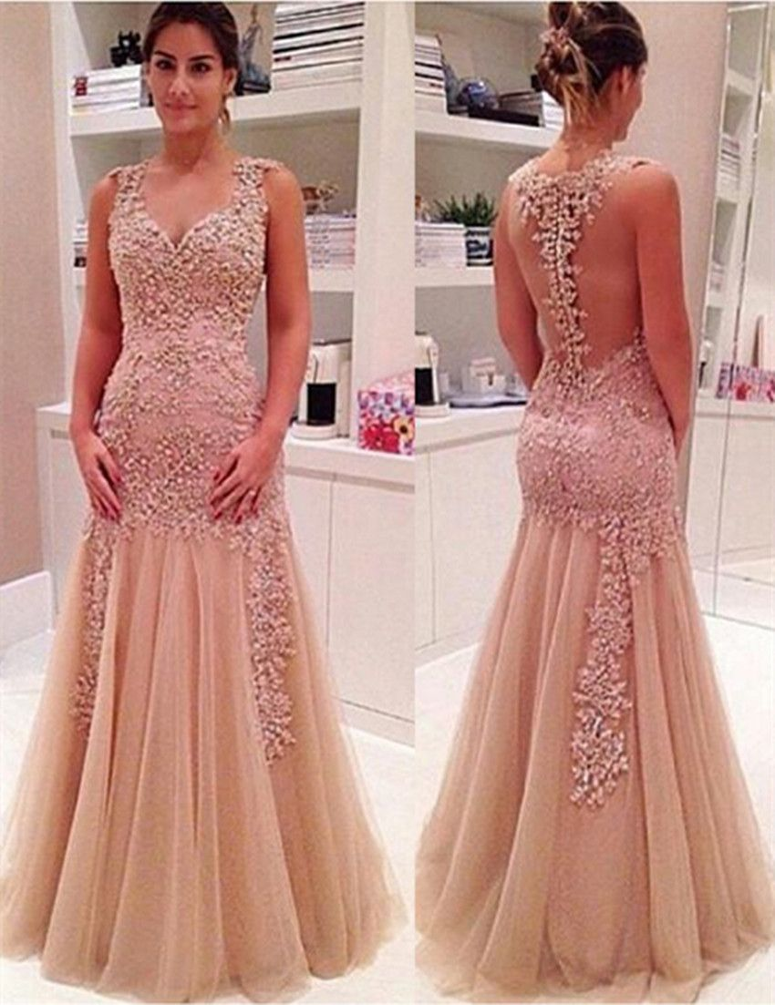 Sexy Mermaid V-Neck Champagne Backless Long Prom/Evening Dress ...