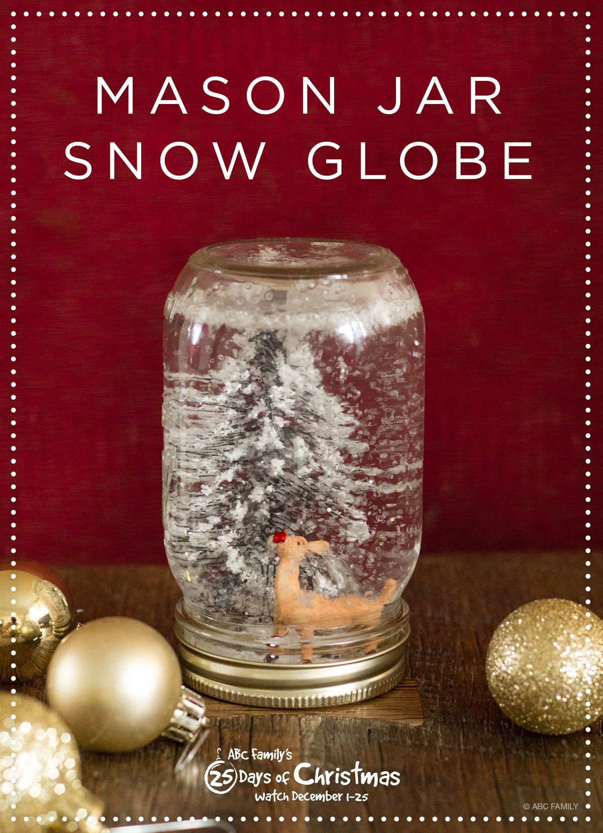 We love this festive DIY reindeer snow globe. It's the perfect addition for your 25 Days of Christmas viewing party! Click to see the instructions and don't miss ABC Family's 25 Days of Christmas December 1-25, 2014.