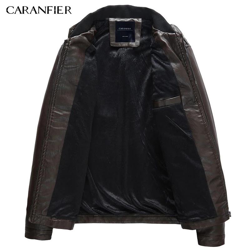 Caranfier Brand Men'S Autumn Pu Faux Leather Jacket