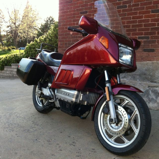 BMW K100RT (1985) - ride to work or pack your bags  http://www.bikez.com/motorcycles/bmw_k_100_rt_1985.php  http://www.motorcyclespecs.co.za/model/bmw/bmw_k100rt%2083.htm  http://www.bmbikes.co.uk/photopages/photosk100rt.htm  http://k100rt.aforumfree.com/t2610-k75rs-conversion-issues