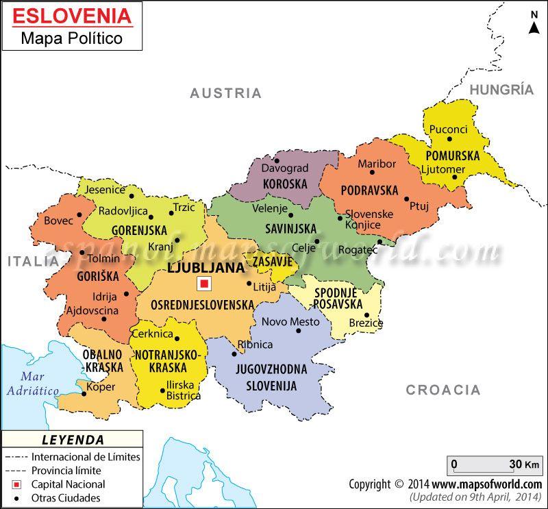 slovenija mapa Eslovenia Mapa, Mapa de Eslovenia | Mapa de Países | Pinterest  slovenija mapa