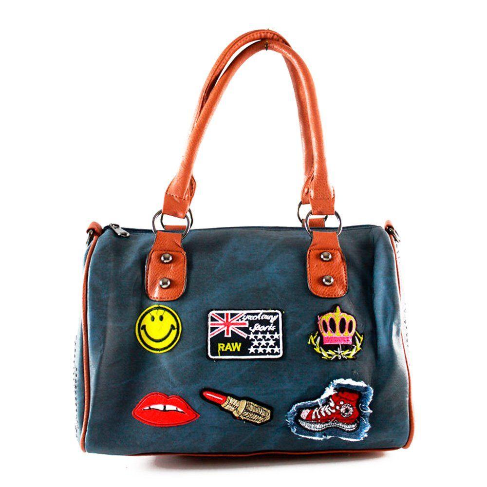 9a26da857 Bolsa Azaléia com Patches Blue | Bolsas femininas | Bolsas e Acessórios