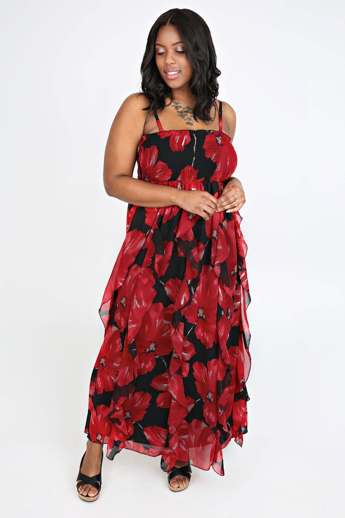 Red Black Floral Print Frill Maxi Dress Petite Plus Size 16 18 20 24 26 28 30 32 34 36 Petite Maxi Dress Maxi Dress Plus Size Maxi Dresses [ 1700 x 1133 Pixel ]