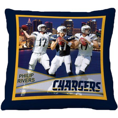 Biggshots San Diego Chargers Phillip Rivers 18 inch Toss Pillow, Blue