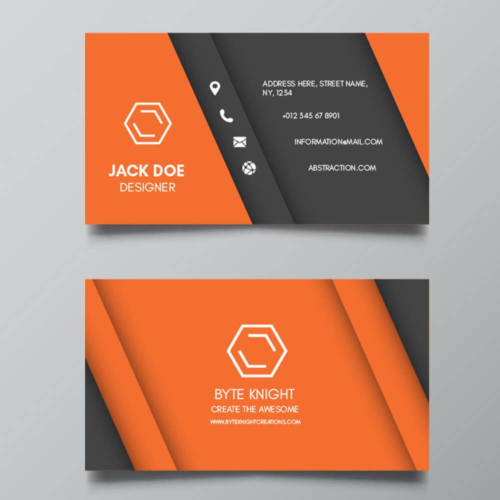 Byteknight Orange Black Visiting Card Design Byteknightcarddesign 1carddesigns Graphic Design Business Card Business Cards Creative Business Card Design