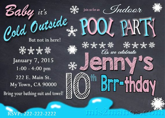 Printable WINTER POOL PARTY Invitation - Winter Birthday Invitation - fresh birthday invitation of my son