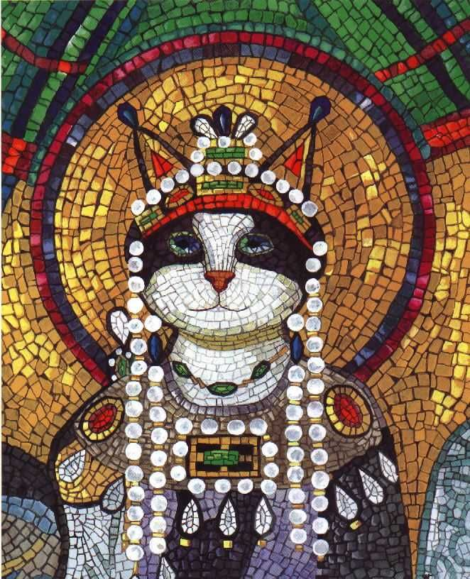 Cat after Theodora's mosaic San Vitale Church, Ravena, Italy