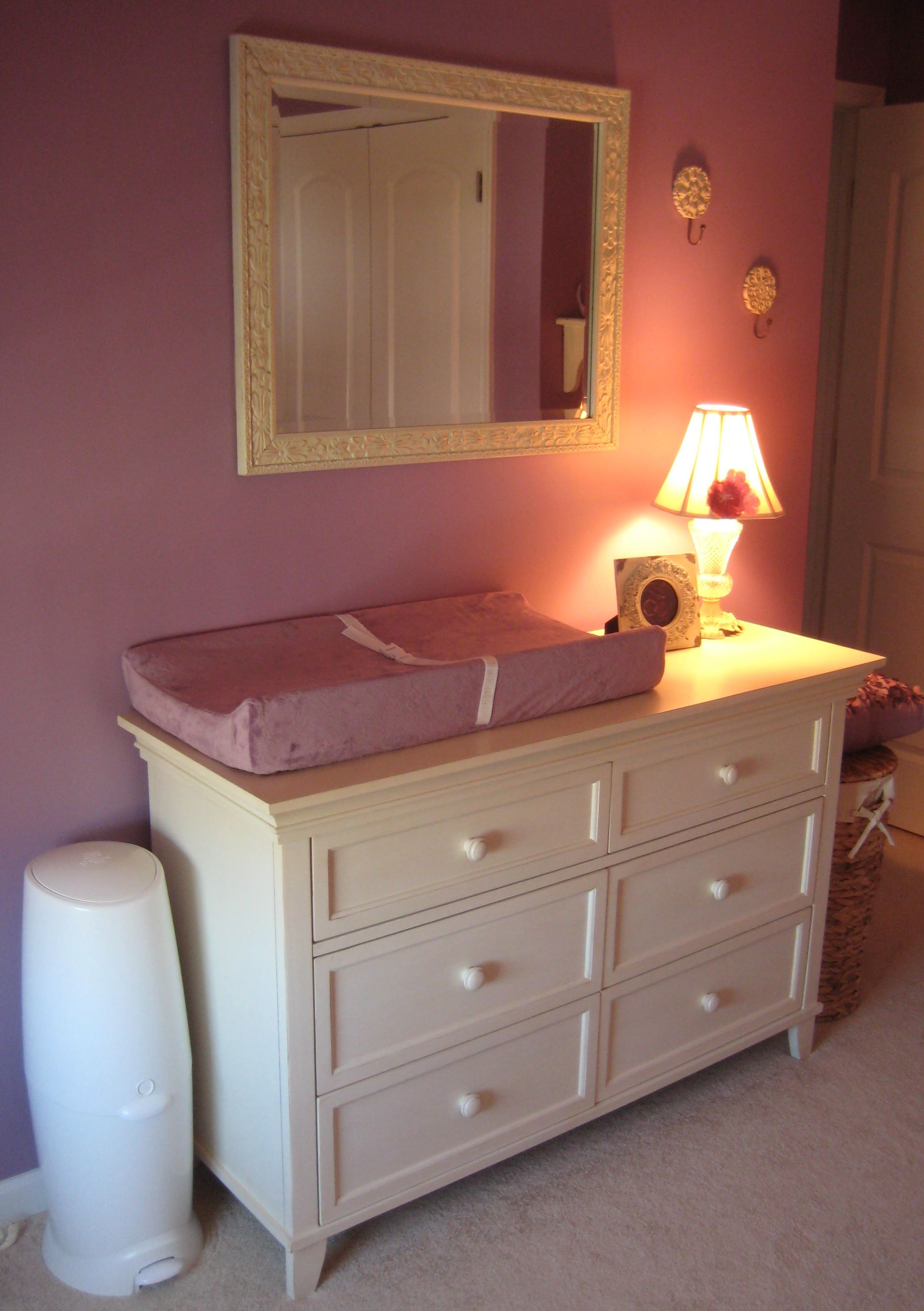 Purple U0026 Ivory. I Especially Like The Dresser/changing Table Area Complete  With Mirror And Lamp For Late Night Diaper Changes.